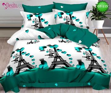 Спално бельо от 100% памук, 6 части и чаршаф с ластик с код GT-115
