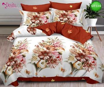 Спално бельо от 100% памук, 6 части и чаршаф с ластик с код GT-116
