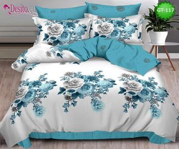 Спално бельо от 100% памук, 6 части и чаршаф с ластик с код GT-117