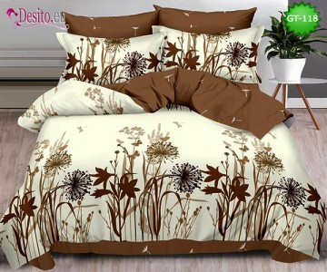 Спално бельо от 100% памук, 6 части и чаршаф с ластик с код GT-118