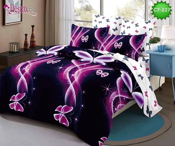 Спално бельо от 100% памук, 6 части - двулицево, с код C7-227