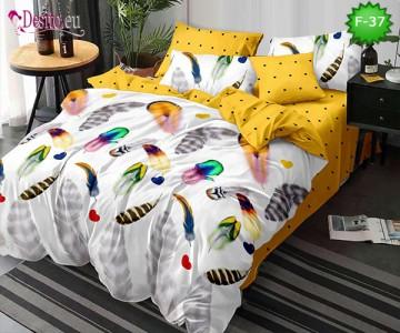 Единично спално бельо 100% памук, 4 части с код F-37