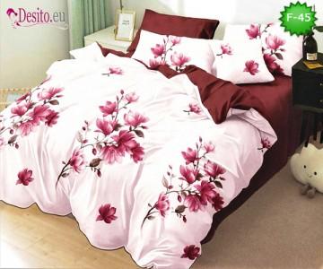 Единично спално бельо 100% памук, 4 части с код F-45
