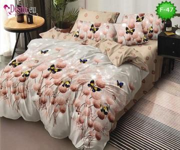 Единично спално бельо 100% памук, 4 части с код F-47