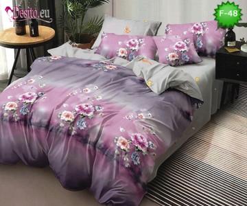 Единично спално бельо 100% памук, 4 части с код F-48