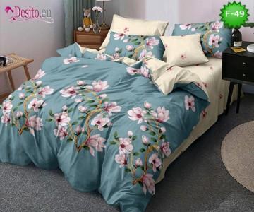 Единично спално бельо 100% памук, 4 части с код F-49