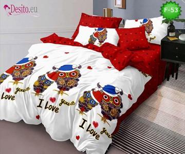 Единично спално бельо 100% памук, 4 части с код F-53