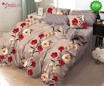 Единично спално бельо 100% памук, 4 части с код F-55