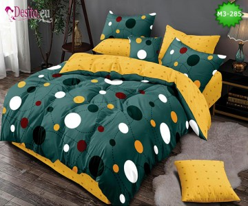 Спално бельо от 100% памук, 6 части, двулицево с код M3-285