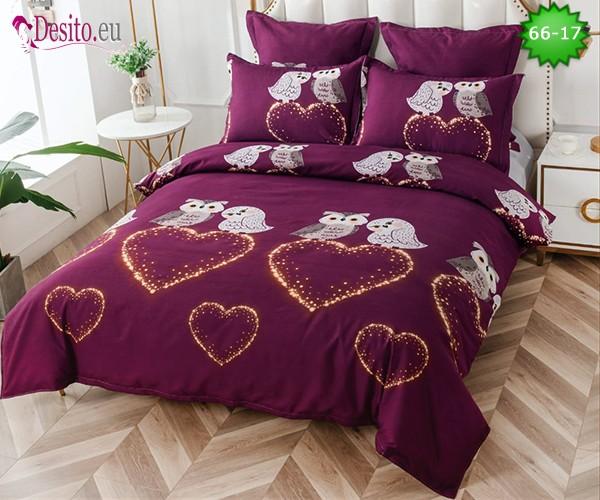 Спално бельо от 100% памук, 6 части и чаршаф с ластик с код 66-17