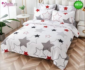 Спално бельо от 100% памук, 6 части и чаршаф с ластик с код 66-18
