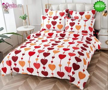 Спално бельо от 100% памук, 6 части и чаршаф с ластик с код 66-20