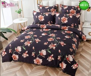Спално бельо от 100% памук, 6 части и чаршаф с ластик с код 66-21