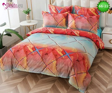 Спално бельо от 100% памук, 6 части и чаршаф с ластик с код 66-22