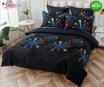 Спално бельо от 100% памук, 6 части и чаршаф с ластик с код 66-23