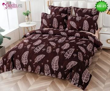 Спално бельо от 100% памук, 6 части и чаршаф с ластик с код 66-25