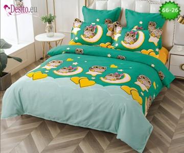 Спално бельо от 100% памук, 6 части и чаршаф с ластик с код 66-26