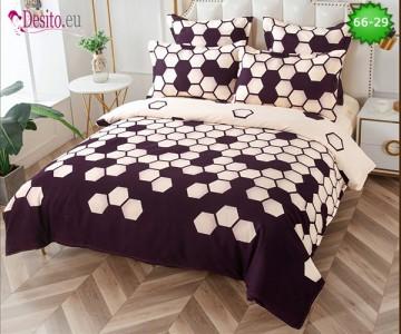 Спално бельо от 100% памук, 6 части и чаршаф с ластик с код 66-29