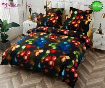 Спално бельо от 100% памук, 6 части и чаршаф с ластик с код 66-30