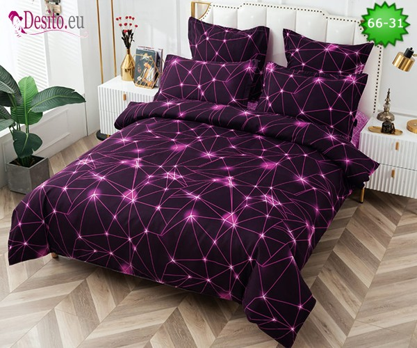 Спално бельо от 100% памук, 6 части и чаршаф с ластик с код 66-31