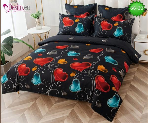 Спално бельо от 100% памук, 6 части и чаршаф с ластик с код 66-32