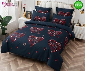 Спално бельо от 100% памук, 6 части и чаршаф с ластик с код 66-33