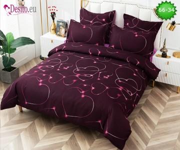 Спално бельо от 100% памук, 6 части и чаршаф с ластик с код 66-34