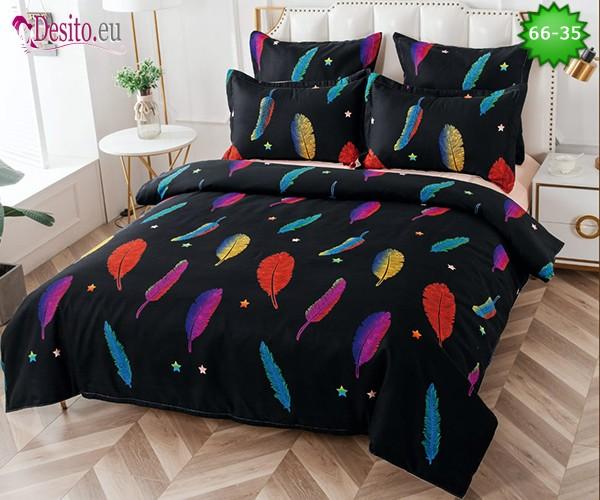 Спално бельо от 100% памук, 6 части и чаршаф с ластик с код 66-35
