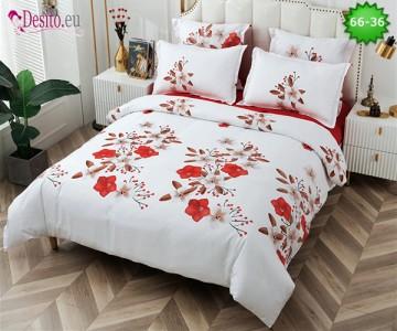 Спално бельо от 100% памук, 6 части и чаршаф с ластик с код 66-36