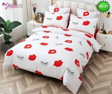 Спално бельо от 100% памук, 6 части и чаршаф с ластик с код 66-37