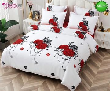 Спално бельо от 100% памук, 6 части и чаршаф с ластик с код 66-39