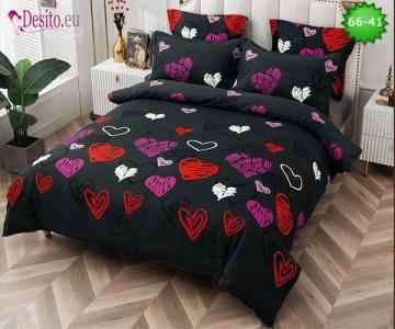 Спално бельо от 100% памук, 6 части и чаршаф с ластик с код 66-41