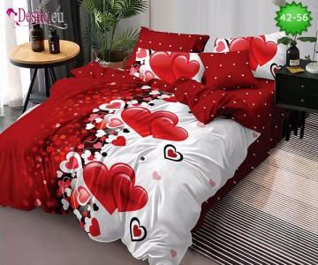 Спално бельо от 100% памук, 6 части и чаршаф с ластик с код 42-56