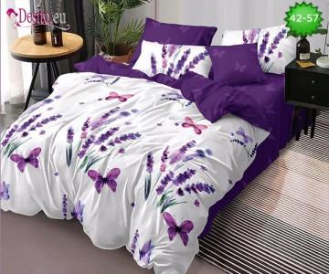 Спално бельо от 100% памук, 6 части и чаршаф с ластик с код 42-57