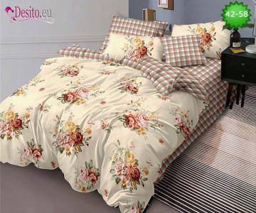 Спално бельо от 100% памук, 6 части и чаршаф с ластик с код 42-58