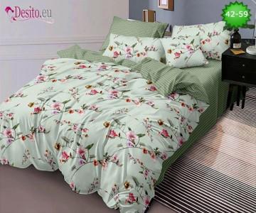 Спално бельо от 100% памук, 6 части и чаршаф с ластик с код 42-59