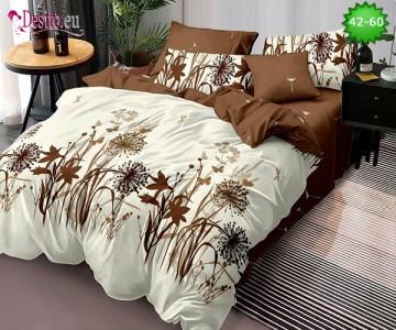 Спално бельо от 100% памук, 6 части и чаршаф с ластик с код 42-60