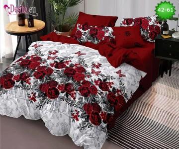 Спално бельо от 100% памук, 6 части и чаршаф с ластик с код 42-61