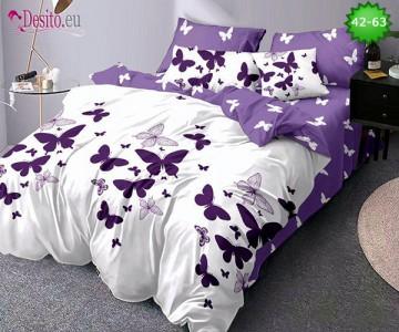Спално бельо от 100% памук, 6 части и чаршаф с ластик с код 42-63