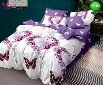 Спално бельо от 100% памук, 6 части и чаршаф с ластик с код 42-64