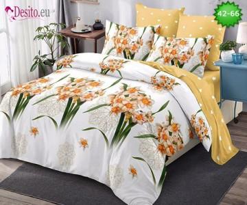 Спално бельо от 100% памук, 6 части и чаршаф с ластик с код 42-66