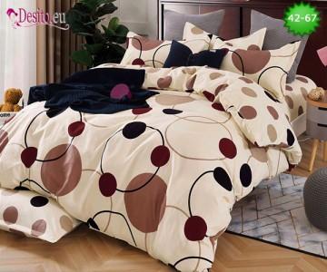 Спално бельо от 100% памук, 6 части и чаршаф с ластик с код 42-67