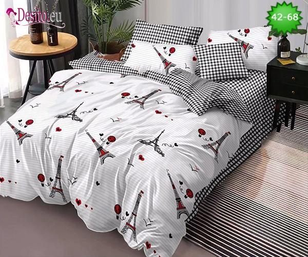 Спално бельо от 100% памук, 6 части и чаршаф с ластик с код 42-68