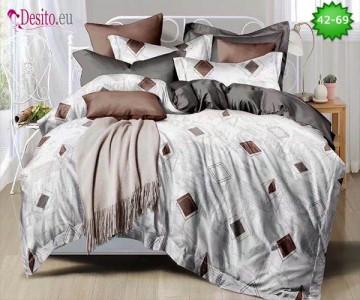 Спално бельо от 100% памук, 6 части и чаршаф с ластик с код 42-69