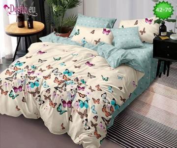 Спално бельо от 100% памук, 6 части и чаршаф с ластик с код 42-70