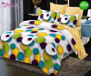Спално бельо от 100% памук, 6 части и чаршаф с ластик с код 42-72